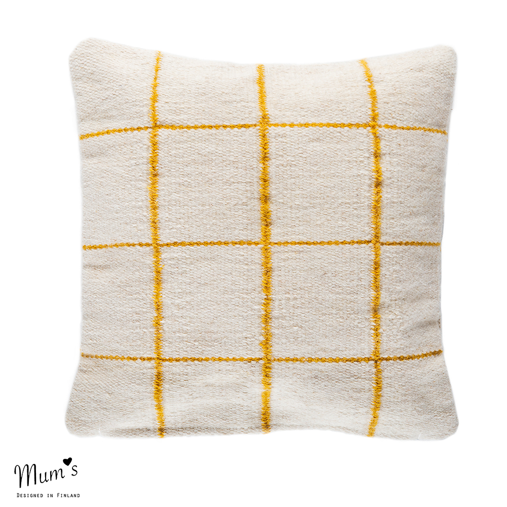 Ikikorpi cushion yellow on natural