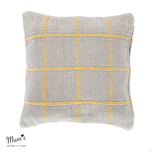 Ikikorpi cushion yellow on light grey